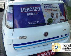 O mercado Extra utilizou o taxidoor para inauguração da loa em Macaé